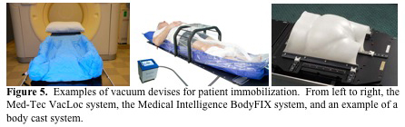 Figure 5.  Examples of vacuum devises for patient immobilization.  From left to right, the Med-Tec VacLoc system, the Medical Intelligence BodyFIX...